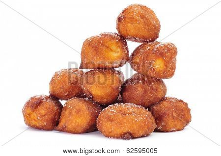 a pile of bunuelos de viento, typical pastries of Spain, eaten in Lent