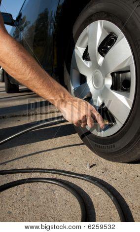 Airing Up A Car Tire