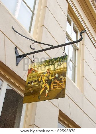 Sign Wine Shop In The Dutch Town Of Heusden. Netherlands