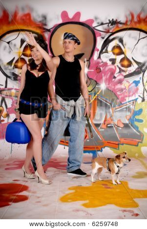 paar Hund städtische graffiti