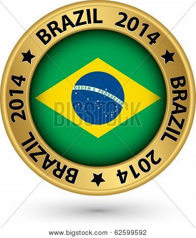 Brazil 2014 Football World Cup Gold Label, Vector Illustration