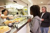image of homeless  - Kitchen Serving Food In Homeless Shelter - JPG