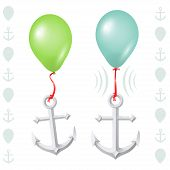stock photo of floaties  - Conceptual balance between floaty balloon and heavy anchor - JPG