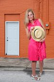 picture of fedora  - Beautiful young woman in a fedora hat - JPG