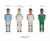 Football teams. Group F - Argentina, Bosnia and Herzegovina, Iran, Nigeria