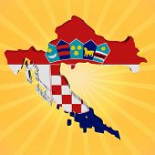 Croatia map flag on sunburst illustration