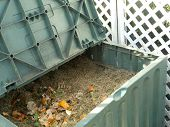 image of decomposition  - Green plastic compost bin full with lawn cut grass and domestic food scraps - JPG