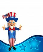 foto of uncle  - 3d rendered illustration of uncle sam with victory sign - JPG