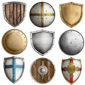 stock photo of crusader  - medieval shields collection  - JPG