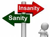 pic of insane  - Insanity Sanity Signpost Showing Sane Or Insane - JPG
