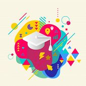 Academic Hat On Abstract Colorful Spotted Background With Differ