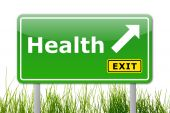 image of road sign  - health concept with road sign showing healthy lifestyle - JPG