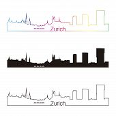 image of zurich  - Zurich skyline linear style with rainbow in editable vector file - JPG