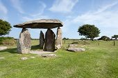 stock photo of megaliths  - Pentre Ifan standing stones are Wales most famous megalith the remains of a vast Celtic burial mound  - JPG