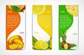 picture of mango  - Natural organic tropical fruits vertical banners set of mango lemon pineapple design template vector illustration - JPG