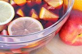 stock photo of sangria  - Fresh sangria in glass bowl close up