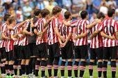 BARCELONA - SEP,23: Athletic Club Bilbao team in silence minute before a Spanish League match betwee