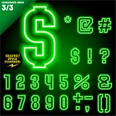 pic of neon green  - Vector illustration of abstract neon tube alphabet for light board - JPG