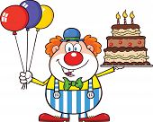 Birthday Clown Cartoon Character With Balloons And Cake With Candles