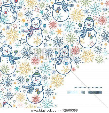 Vector cute snowmen frame corner pattern background