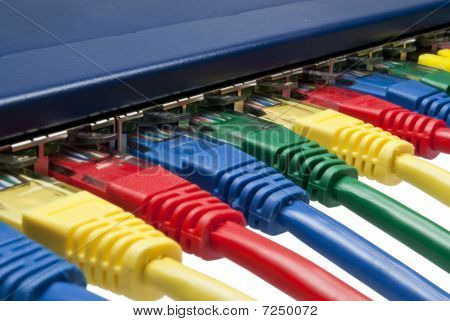 Multi Color Ethernet Network Plugs Connected To A Router / Switch