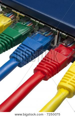 Multi Coloured Ethernet Network Plugs Connected To A Router / Switch