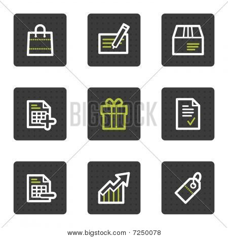 Shopping web icons set 1, grey square buttons series