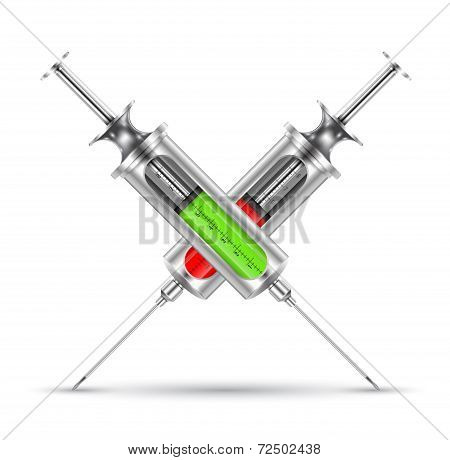 Medical syringe realistic. vector illustration.