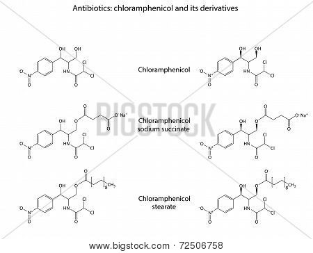 Structural Chemical Formulas Of Antibiotic Chloramphenicol