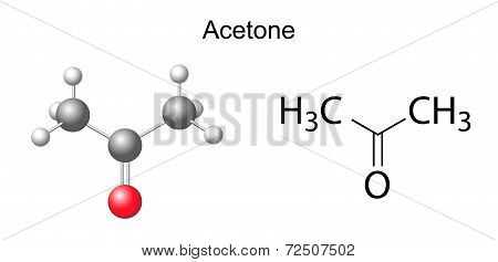 Structural Chemical Formula Of Acetone Molecule