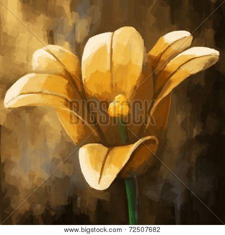 digital painting flower yellow tulip
