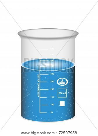 Chemical Beaker With Water Solution And Bubbles