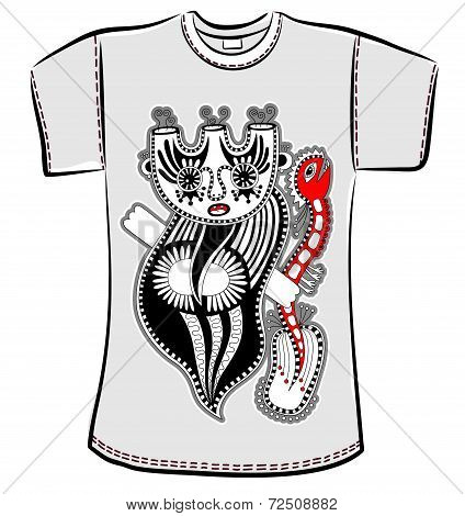 t-shirt design with fantasy monster