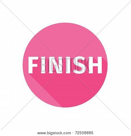 Finish Button Icon Flat Long Shadow
