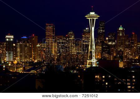 Seattle Skyline Space Needle At Night