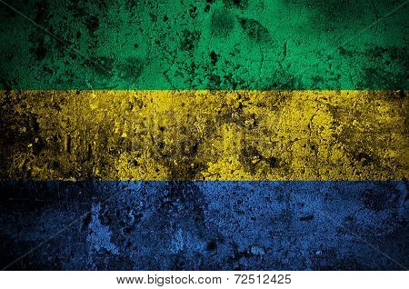 Grunge Flag Of Gabon With Capital In Libreville