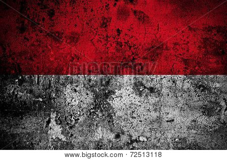 Grunge Flag Of Indonesia With Capital In Jakarta