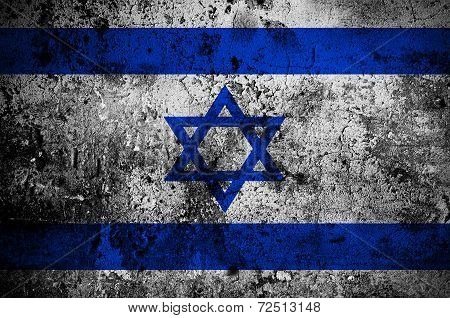 Grunge Flag Of Israel With Capital In Jerusalem