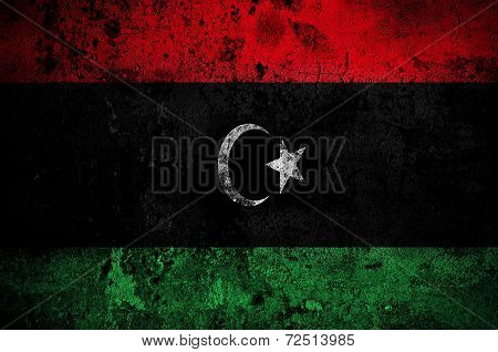 Grunge Flag Of Libya With Capital In Tripoli
