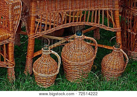 Furniture And Jugs Made From Twigs And Wicker