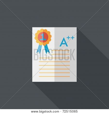 A Plus Grade In The Notebook,flat Icon With Long Shadow,eps10