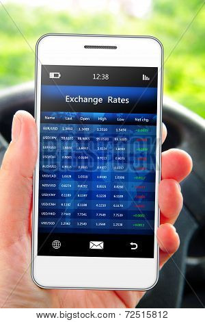 Hand Holding Mobile Phone With Exchange Rates Screen