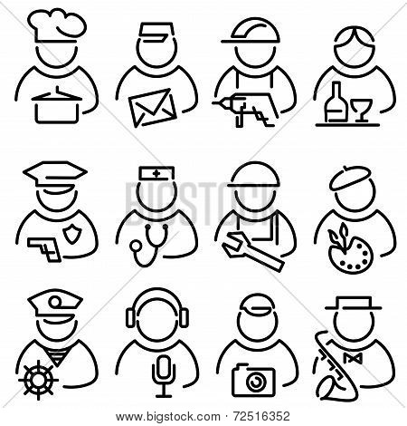 Set Line of People Icons