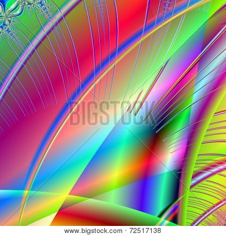 Gorgeous Fractal Colorful Glass Tiles In The Style Of Computer Graphics. A-0240.