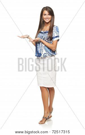 Elegant woman showing copy space