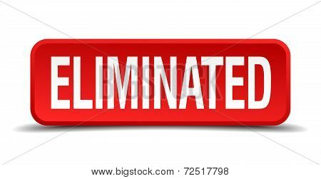 Eliminated Red 3D Square Button Isolated On White Background