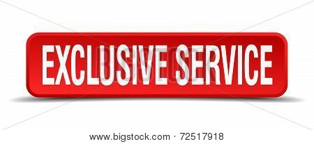 Exclusive Service Red 3D Square Button Isolated On White Background