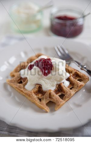 Waffles with clotted cream