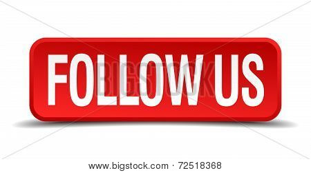 Follow Us Red 3D Square Button Isolated On White Background