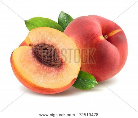 Peach With Leaves And Half Piece Isolated On White Background